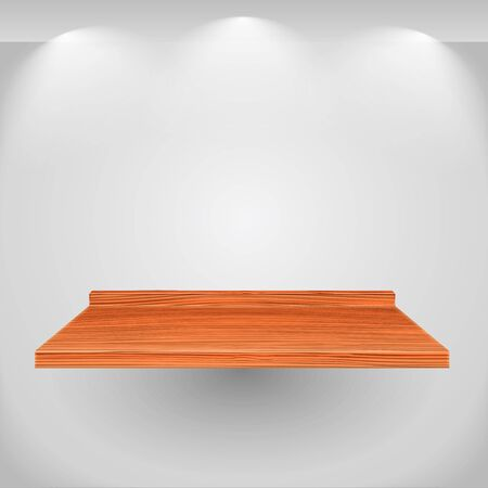 Wooden shelf on gray wall Vector