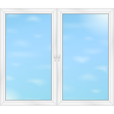 office windows: El cielo azul detr�s de las ventanas