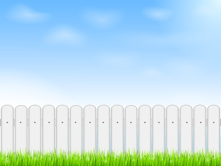 rural scene: White fence and blue sky