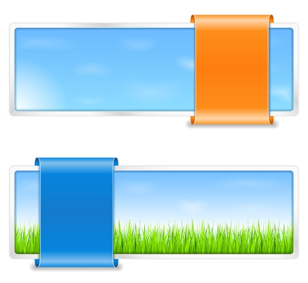 offers: Summer banners with green grass and blue sky Illustration