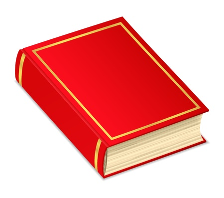 Old red book on white background Ilustrace