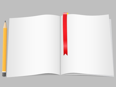 Pages with bookmark and pencil Vector