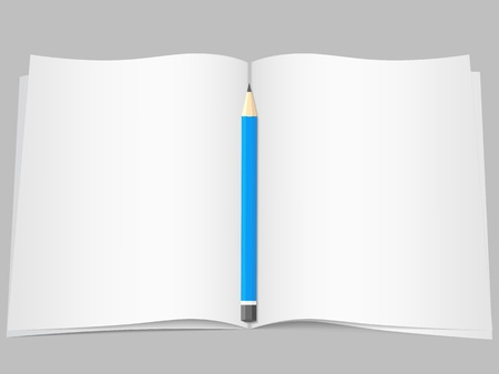 Blank open pages with pencil Stock Vector - 13423095