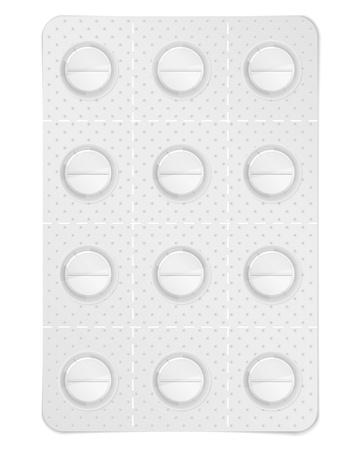 paracetamol: Pills in blister pack Illustration