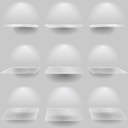 Set of glass shelves Vector