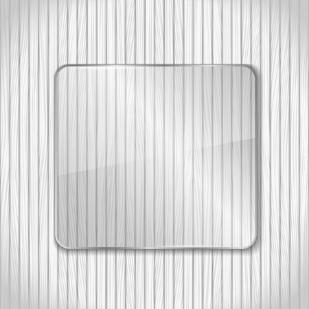 Glass frame on white wooden background Vector
