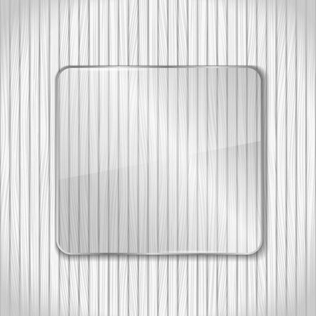 glass fence: Glass frame on white wooden background Illustration