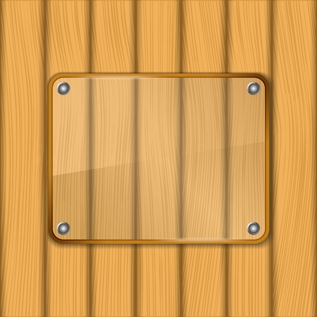Glass frame on wooden background Stock Vector - 13516715