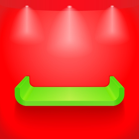 Green shelf on red wall Stock Vector - 13516713