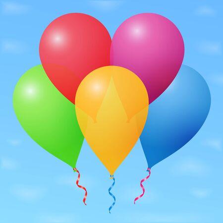 Palloncini colorati in cielo Vettoriali