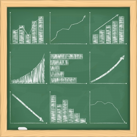 Set of different graphs on blackboard Vector