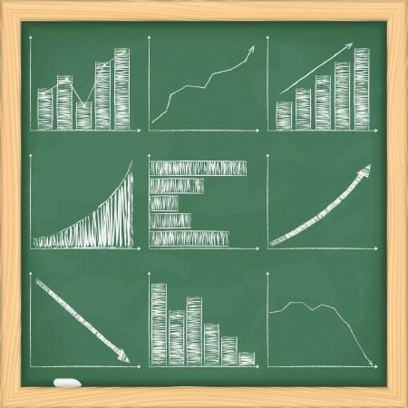 Set of different graphs on blackboard Vector