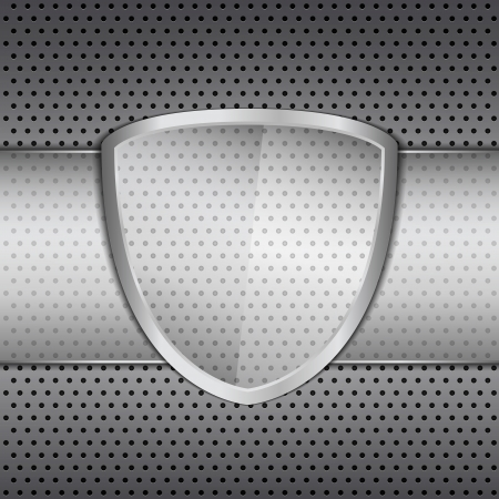 Transparent glass shield on metal background Vector