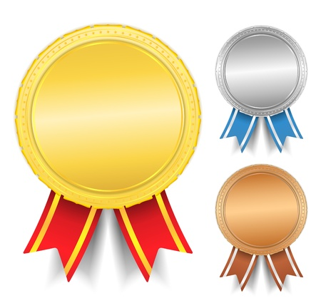 Golden, silver and bronze medals Vector