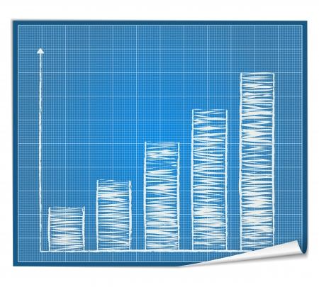 Bar graph blueprint Vector