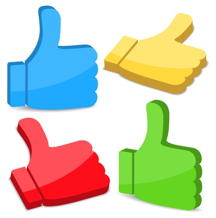 3D Thumbs Up Icons Vector