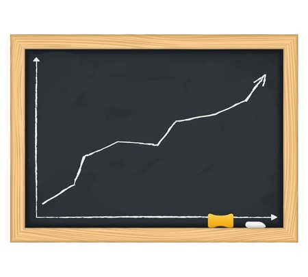 Blackboard with hand drawn growing arrow Vector