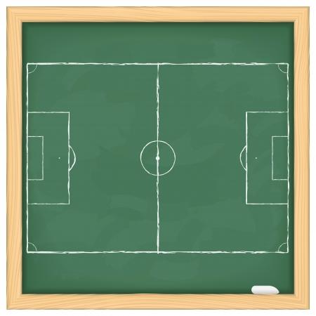 soccer coach: Football field on green blackboard Illustration