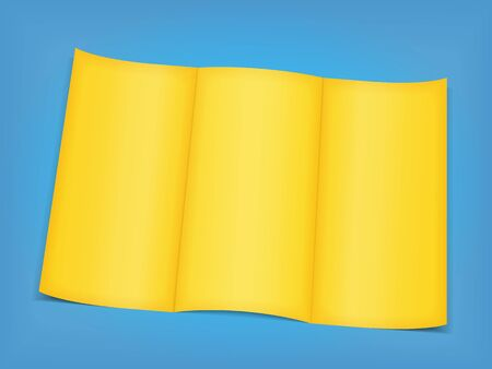 Blank yellow brochure on blue background Stock Vector - 13804836