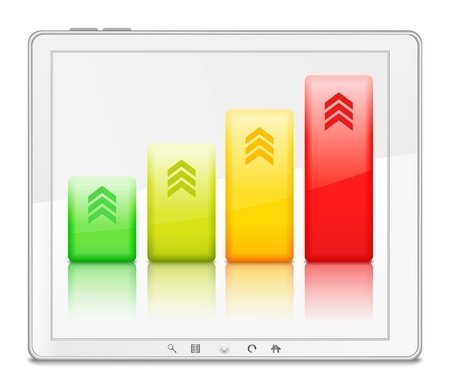 Bar graph in white tablet PC Stock Vector - 13804841