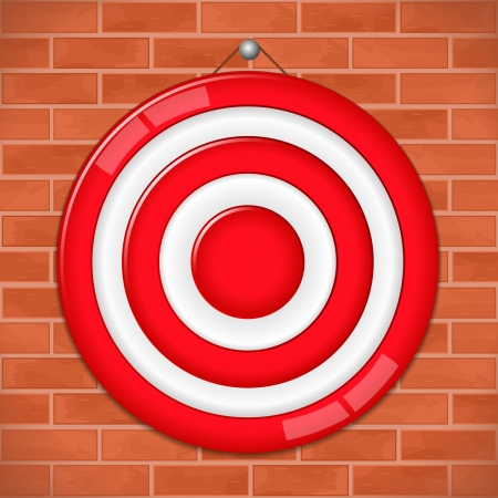 Red target on brick wall Stock Vector - 13804856