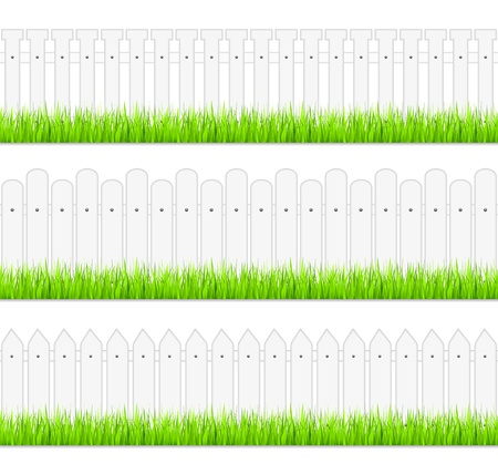 White fences with grass Vector