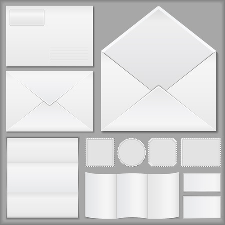 note booklet: Envelopes, paper and postage stamps Illustration