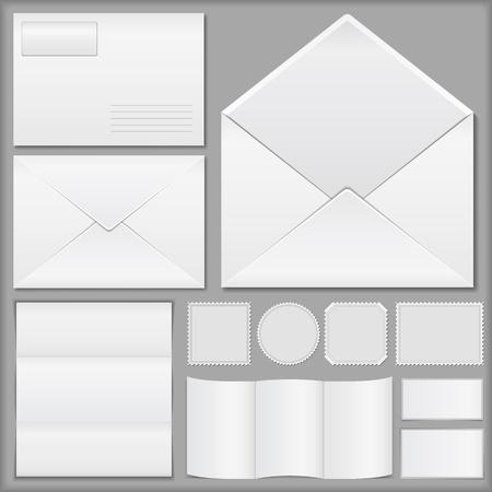 Enveloppen, papier en postzegels Vector Illustratie