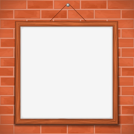 Wooden frame on brick wall Vector