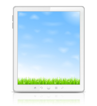 White Tablet PC with green grass and blue sky on the screen Vector