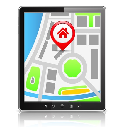 navigation object: Black Tablet PC with map on the screen