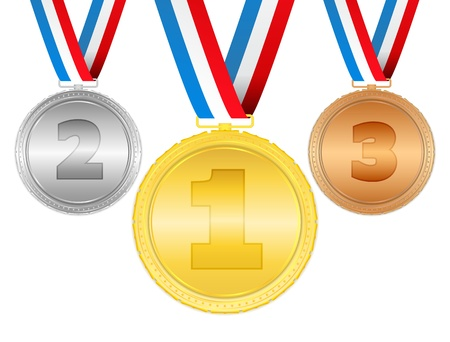 quality assurance: Golden, silver and bronze medals with ribbons