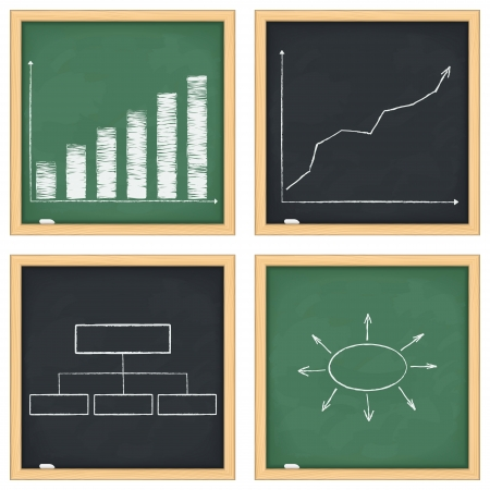 Blackboards with graphs and diagrams Vector