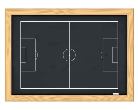 team strategy: Football field on blackboard