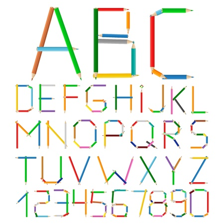 Alphabet made of colored pencils Vector