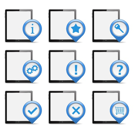 Tablet PCs with Icons Vector