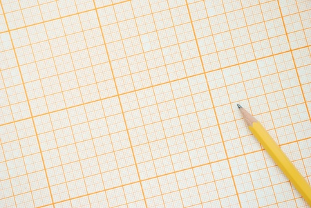 Graph paper with pencil, top view Stock Photo - 14003831