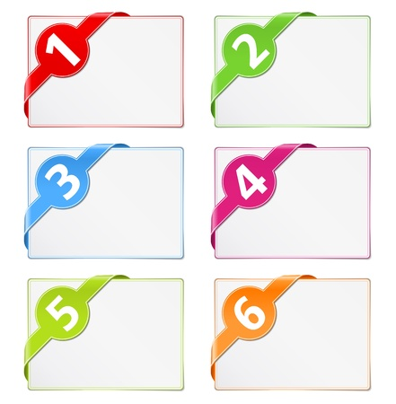 Paper cards with corner ribbons Vector