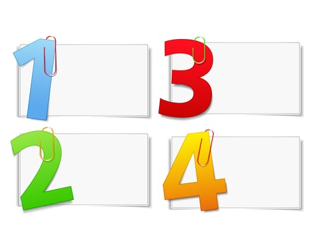 Blank paper cards with numbers Vector