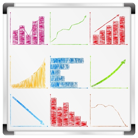 Whiteboard with different graphs and charts Vector
