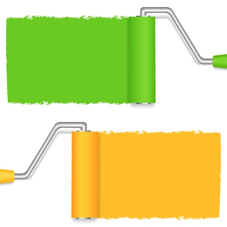 paint brush: Rollers with paint