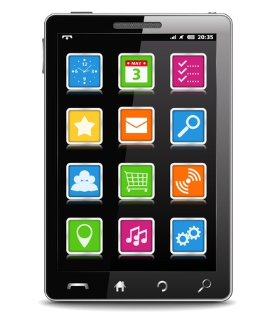 Modern black mobile phone Vector