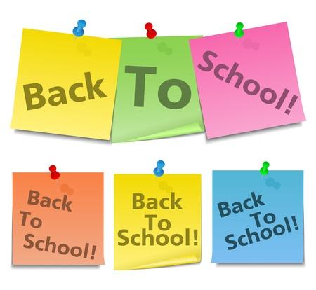 sticky notes: BACL naar School tekst op sticky notes Stock Illustratie