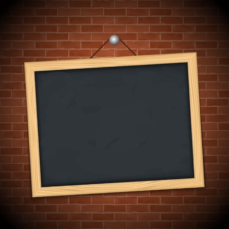 noticeboard: Blackboard on brick wall, vector eps10 illustration Illustration