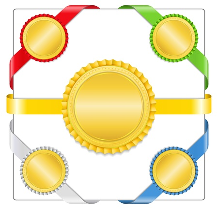 Ribbons with golden medals Vector