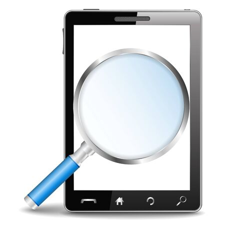 Mobile phone with magnifying glass Stock Vector - 14302505