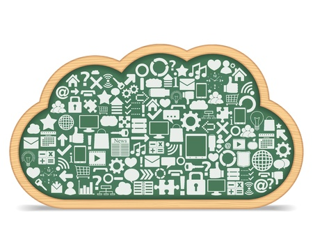 e learning: Blackboard cloud with icons, cloud computing concept