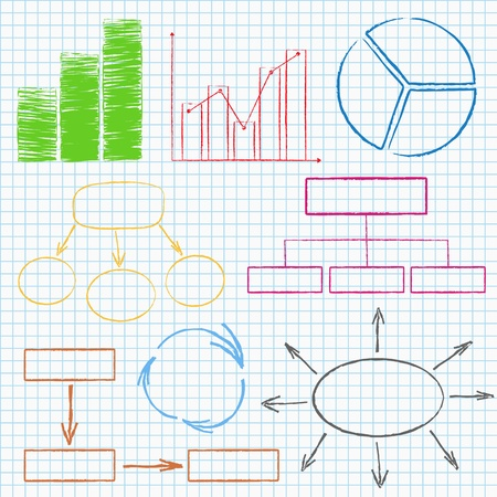 Set of different graphs and diagrams on squared paper Vector