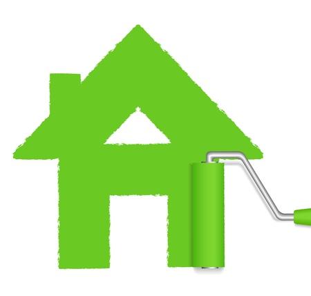 roller brush: Rodillo de pintura de la casa verde Vectores
