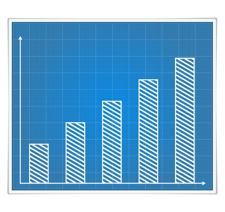 Blueprint bar graph Stock Vector - 14460118